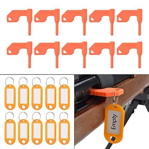 Pridefend 10 Pack Chamber Safety Flag for Rifle Handgun Shotgun with Bonus DIY Key Chain Tags -...