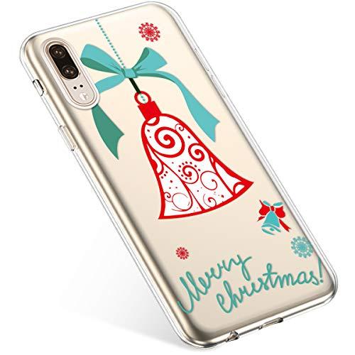 Uposao Coque pour Huawei P20 Etui Silicone TPU Housse Souple Transparente Coque Noël Cerf Flocon de Neige père Noël Sapin de Noël Elk Christmas Motif Ultra Mince Premium Hybrid Slim Case Coque.