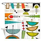 eikleom Midcentury Duschvorhang 180x 180cm Abstrakt Modern Wasserdicht Polyester
