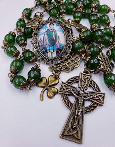 St Patrick Shamrock Irish Celtic Green Jade Bronze tone Rosary Longevity,Health, Happiness,Good luck, Prosperity