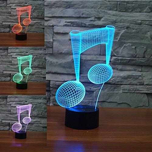 Jinson well 3D das symbol der musik Lampe optische Illusion Nachtlicht, 7 Farbwechsel Touch Switch Tisch Schreibtisch Dekoration Lampen mit Acryl Flat USB Spielzeug
