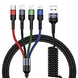 USAMS Multi USB Kabel, 4 in 1 Ladekabel für Auto/Büro 60cm ziehen bis 1.5M, Handy Datenkabel Nylon...
