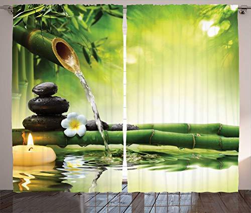 ABAKUHAUS Spa Rustikaler Vorhang, Meditationssteine Bambus, Wohnzimmer Universalband Gardinen mit Schlaufen und Haken, 280 x 260 cm, Mehrfarbig