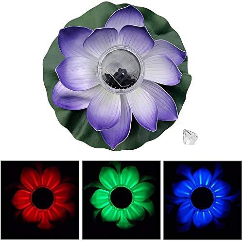 Lotus Light, Schwimmende Solarlampe Led Farbwechsel Nachtlicht wasserdichte Beleuchtung,Wishing Pond Light, Für Schwimmbecken Oder Gartenteich Dekoration (Lila)