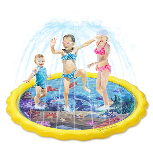 Toyvian Splash Sprinkler Pad für Kinder, Kiddie Baby Pool, 170,2 cm Outdoor Party Wassermatte Spielzeug, aufblasbares Wasserspielzeug Schwimmbad für 2–12 Jahre alte Kleinkinder Babys Kinder