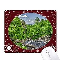 ストリームの緑の森林科学は自然の風景 オフィス用雪ゴムマウスパッド