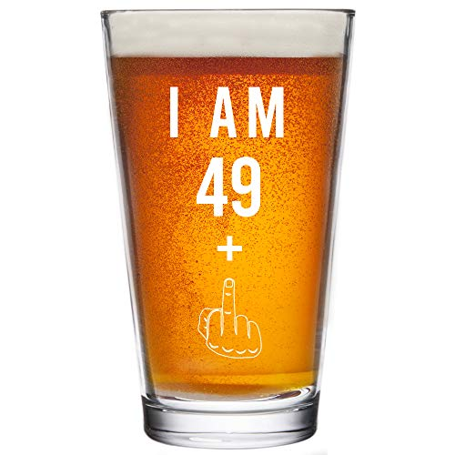 49 + One Middle Finger 50th Birthday Gifts for Men Women Beer Glass – Funny 50 Year Old Presents - 16 oz Pint Glasses Party Decorations Supplies - Craft Beers Gift Ideas for Dad Mom Husband Wife 50 th