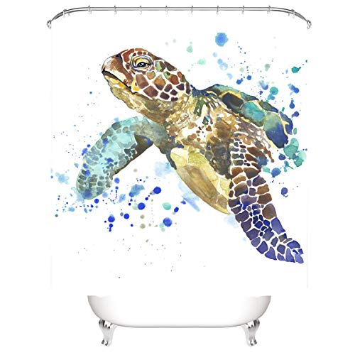 LLLTONG Wasserdichter Duschvorhang aus Polyestergewebe, Mehltau & antibakterielles 3D-Digitaldruckmuster Bunte Schildkröte