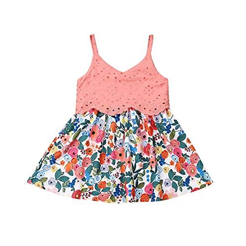 Burkashear - Vestito casual lungo in pizzo rosa con bretelle, motivo floreale, regalo elegante per bambina, 1 – 6 anni Rosa 2-3 Anni