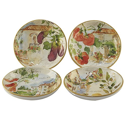 Certified International Corp Piazzette 9.25' Soup/Pasta Bowls, Assorted Designs, Set of 4, Multicolor