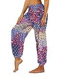 KEERADS Pantaloni da donna, casual, elasticizzati, in vita multicolore S