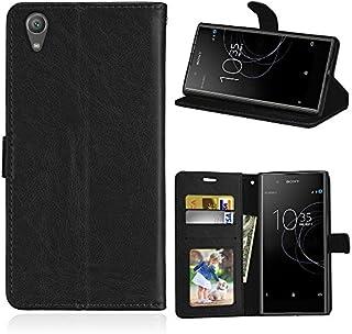 Sony Xperia XA1 Plus シェル,[ 衝撃 吸収 ] 携帯電話ケース PU レザー 立つ 財布 カバー 耐久性のある フリップ シェル の Sony Xperia XA1 Plus Black