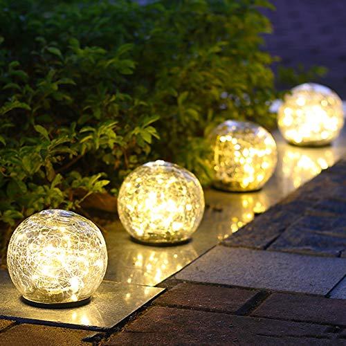 Iyom 4 stuks zonnen buitenshuis tuinverlichting tuindecoratie licht LED U-licht waterdicht ijs gebroken glazen bol gazonlicht voor oprit, weg, vijver, groot
