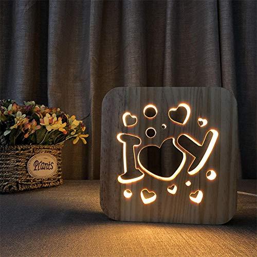 YGRHHP Lámpara de mesa de noche de amor creativo Lámpara de mesa de madera cálida Lámpara de noche LED Lámpara decorativa Lámpara de mesa de dormitorio-C