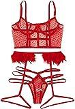 Itvip - Conjunto de lencería sexy de encaje para mujer XL rojo