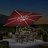 PURPLE LEAF 9' X 12' Double Top Deluxe Solar Powered LED Rectangle Patio Umbrella Offset Hanging Umbrella Outdoor Market Umbrella Garden Umbrella, Terra