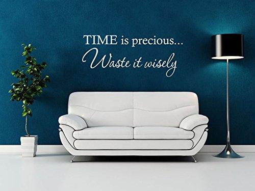 Time Is Precious Waste It Wisely - Adhesivo decorativo para pared, diseño de texto en inglés, vinilo, Blanco, Large - 100cm wide x 42cm high