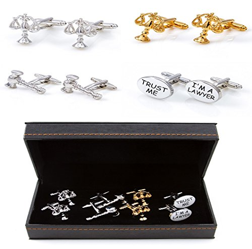MRCUFF Lawyer Attorney Judge Law 4 Different Pairs Cufflinks with a Presentation Gift Box & Polishing Cloth (Lawyer 4 Pack 1)