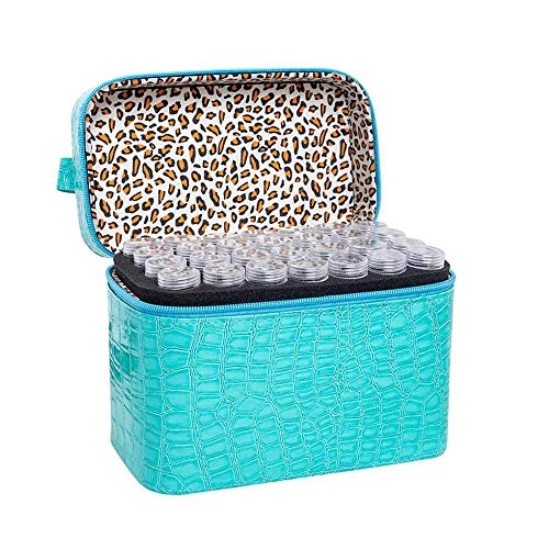 84 Bottles Diamond Painting Storage Box PU Nail Glitter Powder Storage Case Jewelry Beads Sewing Pills Container Holder DIY Diamond Embroidery Beads Organizer Zipper Shockproof Essential Oils Handbag