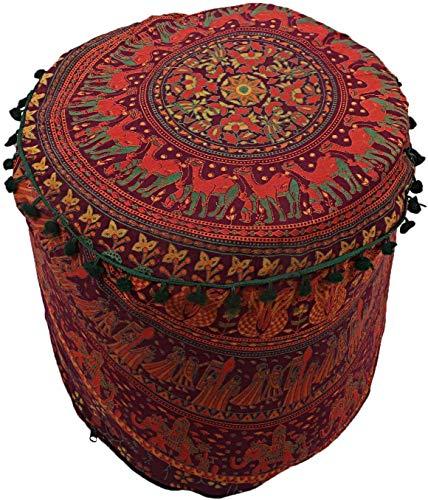 Cojín de piso de algodón de 55,8 cm, redondo, hecho a mano, otomanos, puffe hindú hippie, reposapiés, decoración redonda, funda de puf (45,7 x 45,7 x 33,7 cm)
