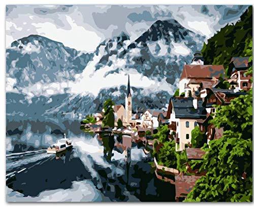 Mountain Villa Landscape Diy Pintura By Numbers Kit Pintura Sobre Lienzo Caligrafía Para Decoración Del Hogar Con Marco 40x50cm