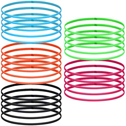 25 Pieces Thin Sports Headbands Elastic Skinny Athletic Hair Bands Mini Head Bands for Yoga Sport Ball Workouts Hair Accessories, 5 Colors
