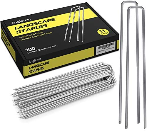 Angiemic 100 Pack 10 Inch 11 Gauge Galvanized Landscape Staples Garden Stakes Ground Staples product image