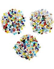 Belle Vous Mozaïek Gemixte Kleuren Tegels in 3 Vormen (600Pak/480g) – Diamanten (2x 1,2cm), Driehoeken (1,5 x 1,5 x 1,5cm) & Vierkanten (1 x 1cm) – Gesorteerde Vormen voor Kunst & Hobby, Huisdecoratie
