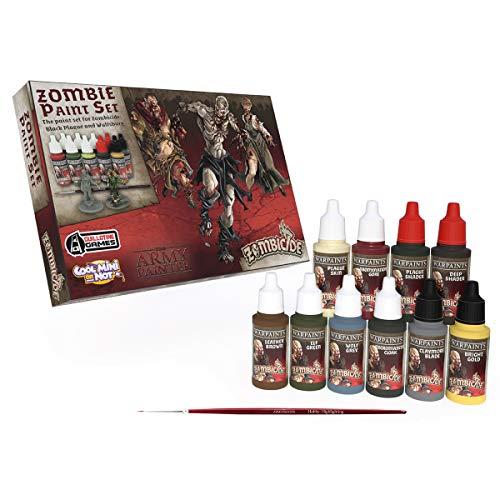 The Army Painter | Zombicide | Black Plague Paint Set | 10 Colores Acrílicos y 1 Pincel Starter Brush GRATUITO | Zombicide Cool Mini Or Not | Pintura para Modelos Miniatura