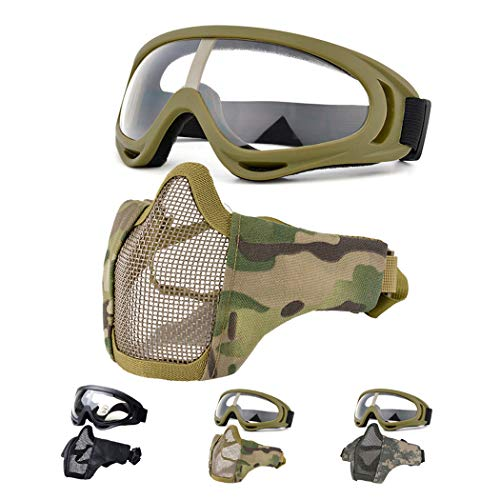 Fansport Airsoft Mask Tactical Goggles Set, Lower Half Face Mesh Masks Foldable Steel mesh mask Airsoft Protective Mask with Goggles Set for Hunting, Shooting, Paintball (Yellow)
