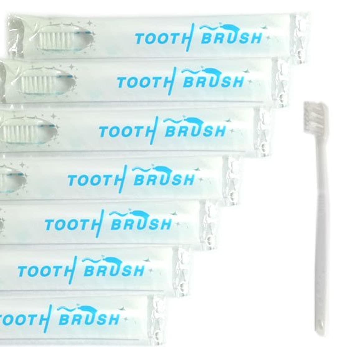 野な各で出来ている業務用 使い捨て(インスタント) 粉付き歯ブラシ(100本組) 予備付き