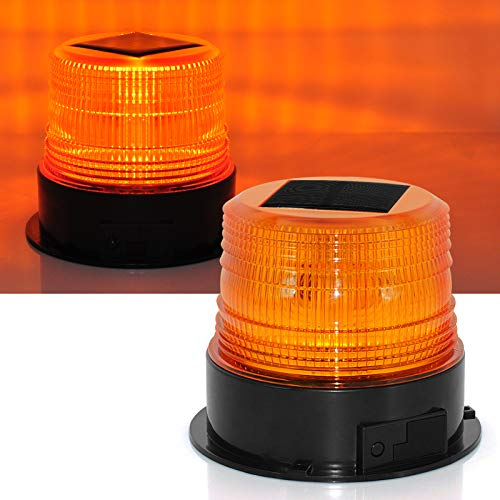 Solar LED Beacon Light 12/24V Wireless Waterproof Amber Warning Lights, with Magnetic Base, Rechargeable Rotating Strobe Lights for Vehicle Forklift Truck Tractor Golf Carts UTV Car Bus