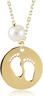 GELIN Infant Baby Footprint Pendant Necklace in 14k Solid Gold, New Mom Jewelry Gift for Women