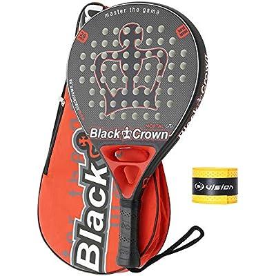PADEL NUESTRO Pala Black Crown Mortal + Overgrip/Mejores Raqueta Gran Control y Potencia/Paleta para Hombre y Mujer/Palas Nivel intermedio y avanzado
