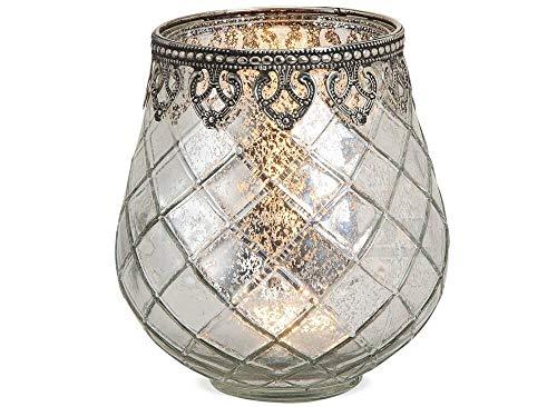 matches21 Windlicht Teelichtglas Kerzenglas Orientalisch Silber antik Glas/Metall Vintage - 3 Größen zur Auswahl – 14 cm