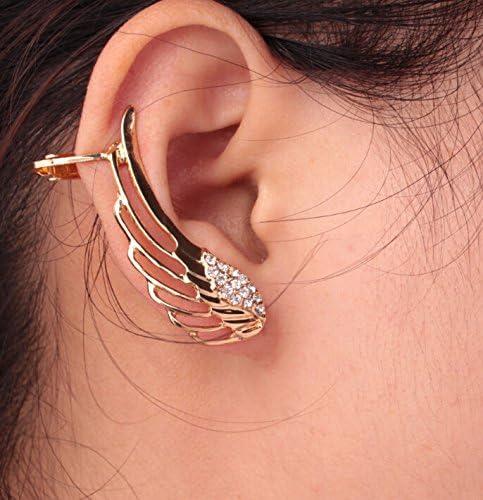 One Pair Spiritual Crystal Zircon Angel Wings Ear Cuff Crawler Climber Stud Earrings Cuffs Hook Earrings Best Gift for Women
