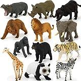 Modell Wilde Tiere Spielzeug Tierfiguren Spielzeug Set für Jungen Mädchen Kinder Kleinkinder Pädagogisches Erkenntnisspielzeug Party Favors für Kinder (12 Teile/paket)