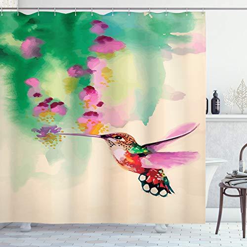 Ambesonne Hummingbird Shower Curtain, Art with Colibri Bird and Flowers Romantic Springtime Tropics Nature Theme, Cloth Fabric Bathroom Decor Set with Hooks, 70' Long, Fuchsia Green