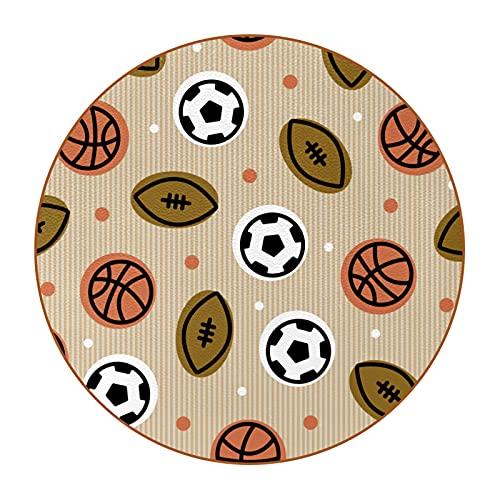 Bennigiry Juego de 6 posavasos redondos con diseño de baloncesto de rugby de fútbol