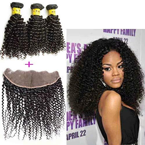 Queengirl Bundles de cheveux bouclés crépus malaisiens avec une extension de lanière frontale de cheveux vierges 3bundles 13x4 en dentelle 14 14 14inch+frontal 10\