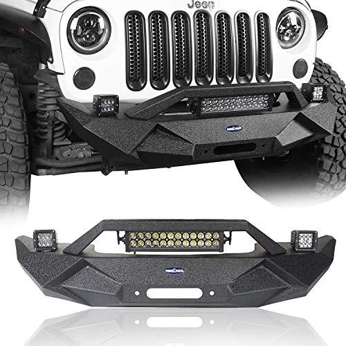 Hooke Road Wrangler Blade Front Bumper w/Winch Plate & 72W Light Bar & 18W Fog Lights for Jeep Wrangler JK & JKU 2007-2018