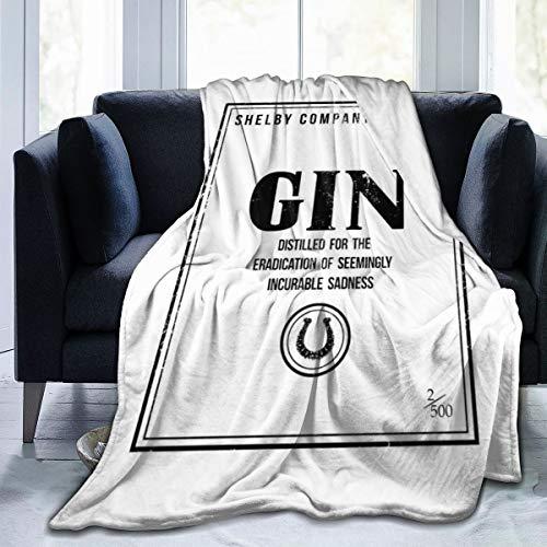 Nujshf Shelby Company Limited Gin Label Peaky Blinders Fleece-Flanelldecke, leicht, ultraweich, warm, für Sofa geeignet