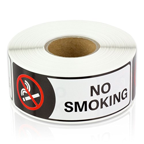 "NO Smoking 1"" x 3"" Warning Alert Stop Smoke No Cigarette Logo Window Door Sticker Labels (300 Labels per roll / 1 roll)"