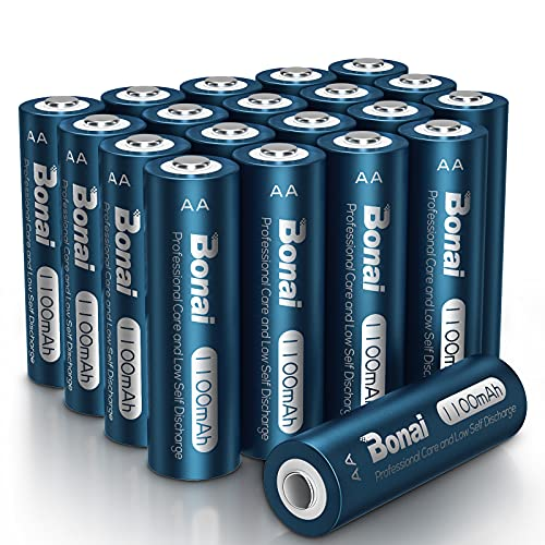 BONAI Solar AA Rechargeable Batteries, High Capacity 1100mAh NiMH Battery for Outdoor Solar Lights 1.2V Pre Charged Double-A Batteries (AA 20 Pack)