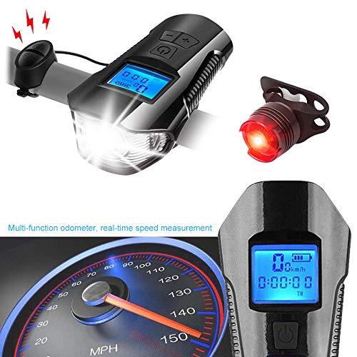 Daskoo Luz LED Bicicleta Delantera, Luz Delantera de Bici Recargable por USB, Faro de Bicicleta, Luz LED Bicicleta, y Luz para Carretera y Montaña