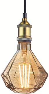 Vintage Led Glass Pendant Light - Industrial Diamond Ceiling Lamp, LightFixtureIndoor, Includes 6 Watts Bulb, Metal Socket, Adjustable Cord, Home Decor Gift