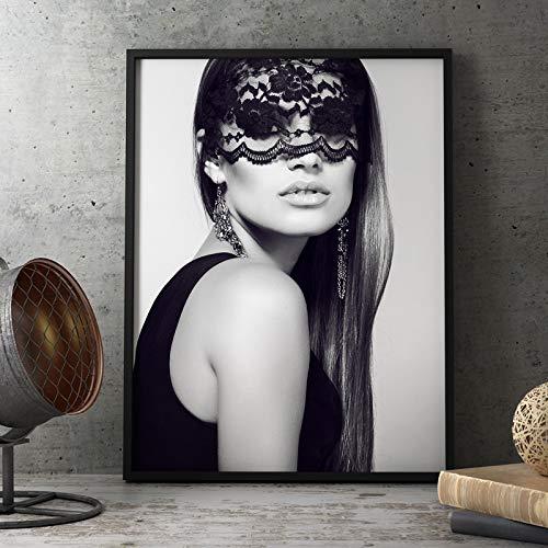 GJQFJBS Nordic Poster Süße Schwarz-Weiß-Maske mit weiblichem Spitzenplakat Wohnzimmer Leinwand Wandbild A1 60x90cm