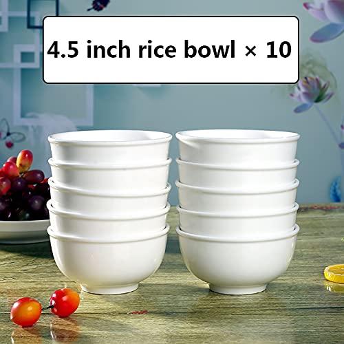 Cuencos de cereales Cuencos de fideos de cerámica de alta densidad y fácil limpieza, tazones de arroz grandes sin color desvanecimiento en el esmalte, tazones de china de huesos domésticos con fondos