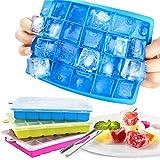 Bandejas para hielo silicona con tapa, juego de 3 cubitera hielo con 1 pinza, molde cubo hielo 2. 5 * 2. 5 cm, ice mold para congelarse alimentos para bebés agua cola cócteles whisky