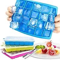 stampo ghiaccio con coperchio, set di 3 stampi silicone con 1 pinza per cubetti ghiaccio, 2.5 * 2.5 cm ice cube molds, vaschetta ghiaccio vassoio per whisky cocktail acqua succo bevande
